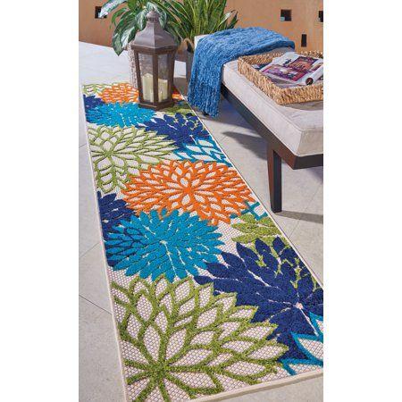 Walmart Tropical Oasis Indoor Outdoor Floral Multicolor Area Rug