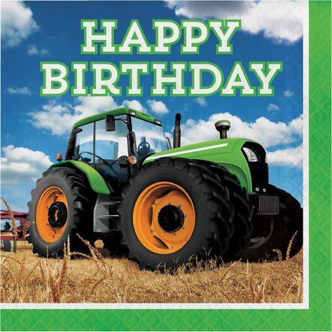 192 Case Tractor Time Lunch Napkins Happy Birthday Traktor