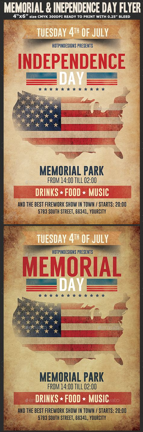 Independence Day Flyer Template by Hotpin on @creativemarket - independence day flyer
