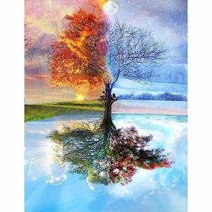 4 Jahreszeiten Baum 5d Diamanten Malerei Bemalte Kreuze Diamantmalerei Baumbilder