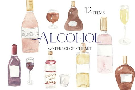 Alcohol clipart, watercolor drink clipart (1346406) | Illustrations | Design Bundles