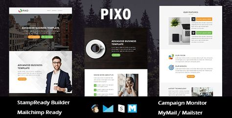 Pixo - Multipurpose Responsive Email Template With Online StampReady Builder Access