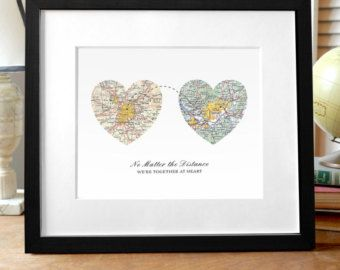 Valentines Day Gift, Heart to Heart Map Art, Gift for Girlfriend, Gift for Boyfriend, Wedding Gift, Family and Friends