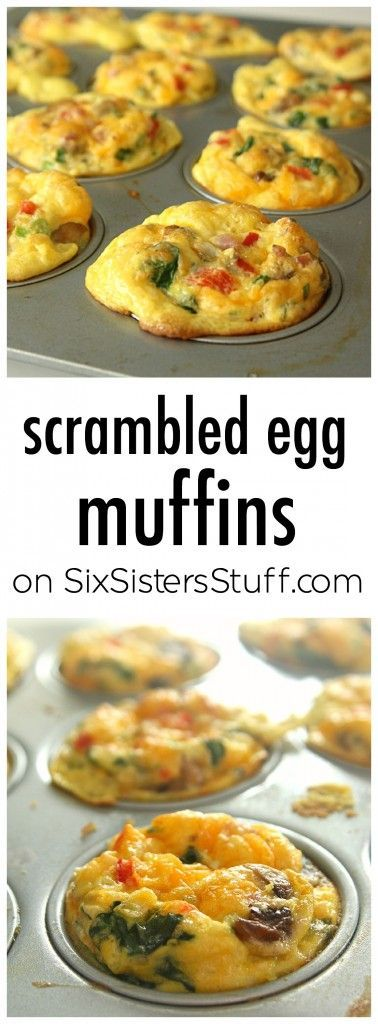 Scrambled Egg Muffins on SixSistersStuff.com   Make these for a quick and healthy on-the-go breakfast the whole family will love. Try different combos of ingredients to find your favorite - mushrooms, ham, and swiss or spinach, tomato, and sausage. These are an easy way to get your protein and veggies in one!