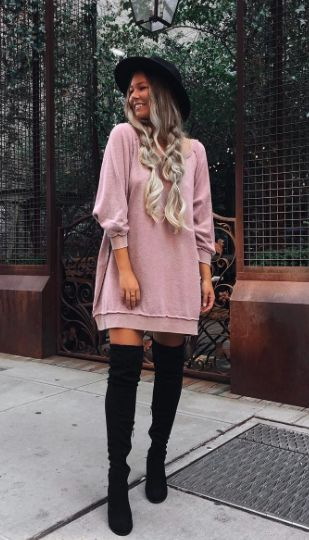 dc2bdd17ba oversized sweatshirts + over the knee boots  freepeople  fpme