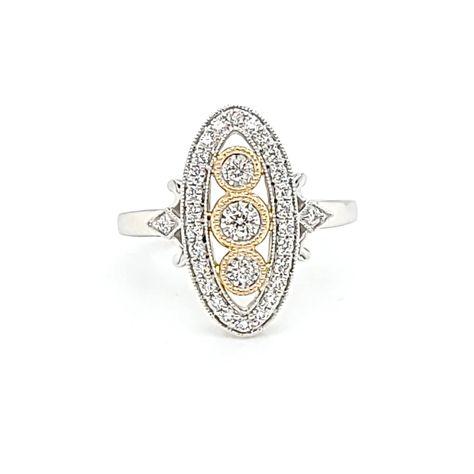 14K White & Yellow Gold .36ctw Diamond Art Deco Style Ring