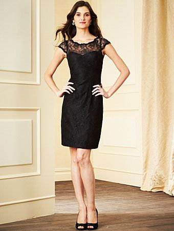 Lace cocktail length bridesmaid dress by Alfred Angelo, Style 7279S