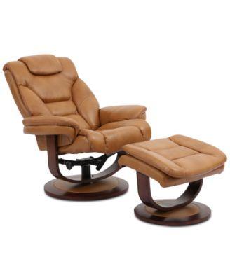 Furniture Annaldo Leather Swivel Chair Ottoman 2 Pc Set