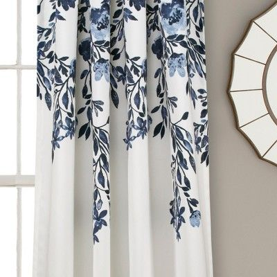 Set Of 2 84 X52 Tanisha Room Darkening Window Curtain Panels Navy White Lush Decor Mediterranean Decor Floral Room Panel Curtains