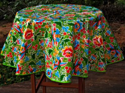 Round Green Oilcloth Tablecloth | Mural Inspiration | Pinterest | Oilcloth  And Mexicans