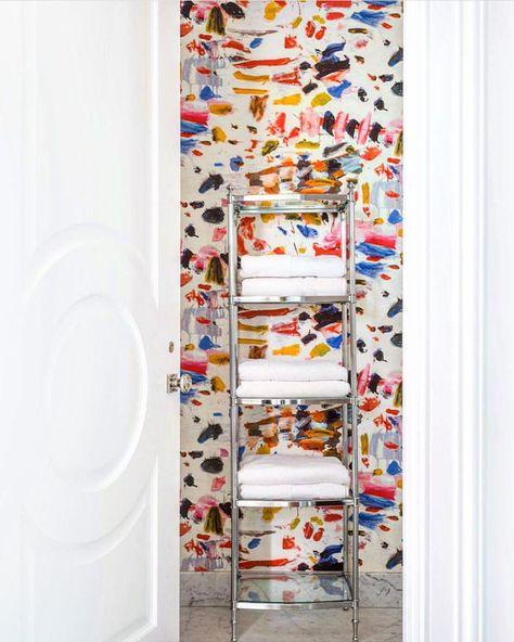 """La Maison Pierre Frey on Instagram: """"""""Arty"""" wallpaper in a great powder room by @jennfeldmandesigns ! #pierrefrey #interiordesign #pierrefreywallpaper #wallpaper"""""""