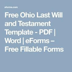 Free Ohio Last Will And Testament Template PDF Word EForms - Ohio last will and testament template