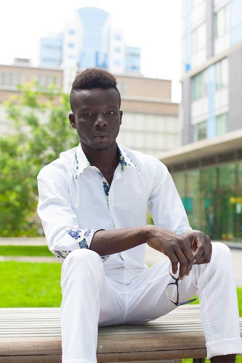KWESIYA Men Shirt-Blazer, White Slim Fit African Inspired Shirt - African Wax, Ankara