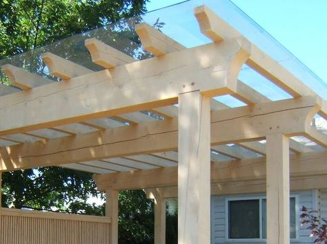 Bespoke Heavy Duty Wooden Pergola with clear roofing panels and