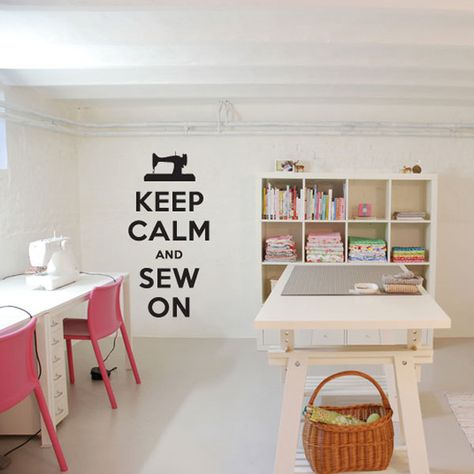 """Keep Calm and Sew On Decal - 11.5"""" x 24"""" - Vinyl Wall Art Decal Sticker. $24.99, via Etsy."""