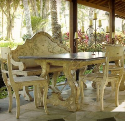 Long Italian Country Dining Table Stain Painted Design Country