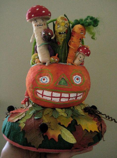 Veggies in orange lantern Spun Cotton by Maria Paula by spuncotton