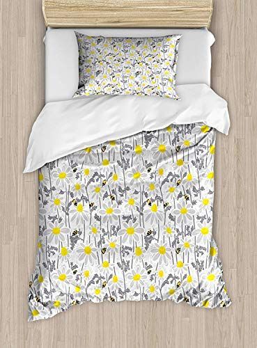 Big Buy Store Yellow Duvet Cover Pattern With Bees And Chamomile Daisy Flowers In Flourishing Meadow Nature Duvet Covers Yellow Bedding Set Duvet Cover Sets