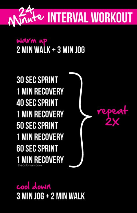 Want to increase your fitness level and burn more calories? Try our 24-minute interval workout. You've got this! #TheColorRun