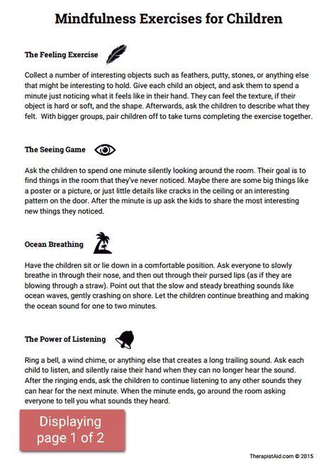 Mindfulness Activities for Children (Worksheet) | Therapist Aid