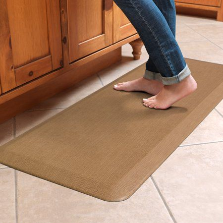Newlife By Gelpro Anti Fatigue Comfort Mat 20x48 Grasscloth Khaki Size 20 Inch X 48 Inch Beige In 2020 Kitchen Mat Kitchen Comfort Mat Kitchen Flooring