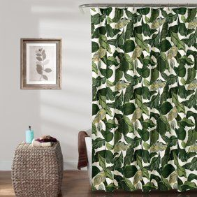 Plant Shower Curtain Watercolor Tropical Palm Leaves Colorful