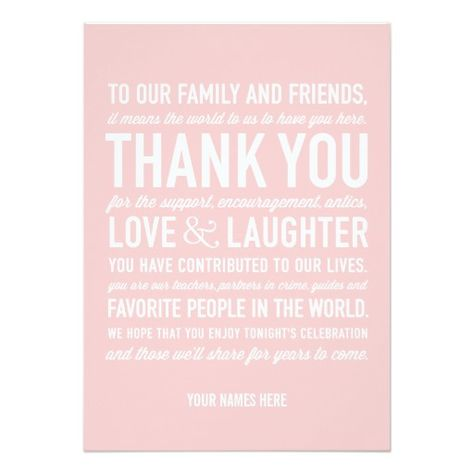 Wedding Reception Thank You Message Card In Pink Wedding Pink