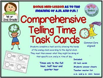 Do You Know The Meaning Of A M And P M Most Adults Don T Yet We Use It Everyday Mini Lesson Included On Their Telling Time Task Cards Task Cards Eureka Math