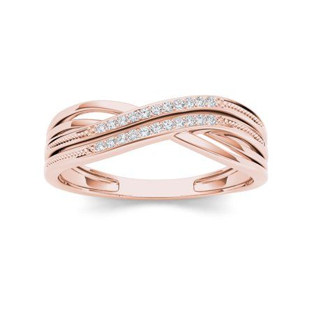 Imperial 1 20ct Tdw Diamond Ribbon Crossover 10k Rose Gold Diamond Fashion Rin Diamond Fashion Rings Morganite Engagement Ring Rose Gold Rose Gold Diamond Halo