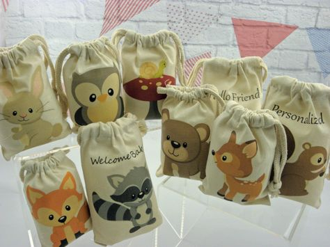 Muslin Bags Forest Woodland Animals Favor Baby Shower or Birthday Bags 4