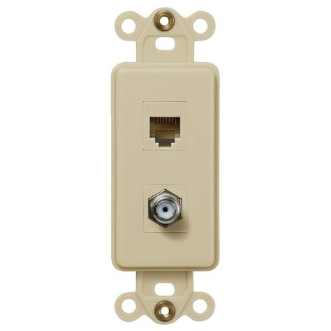 Amerelle Cxphiv Ivory Single Coax And Single Phone Jack Rocker Insert Wall Plate Plates On Wall Phone Ivory