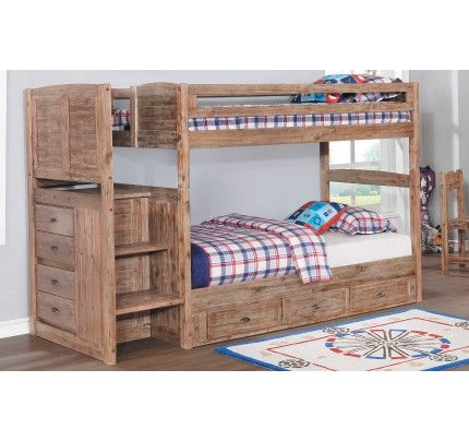 Discovery World Furniture Sand Twin Twin Staircase Bunk Bed