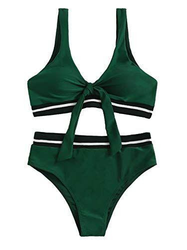 SweatyRocks Women's Bikini Tie Knot Front Stripe Side