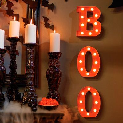 Battery Operated Boo Marquee Letters Halloween Decoration Grandin Road Halloween Lights Pumpkin Halloween Decorations Light Decorations