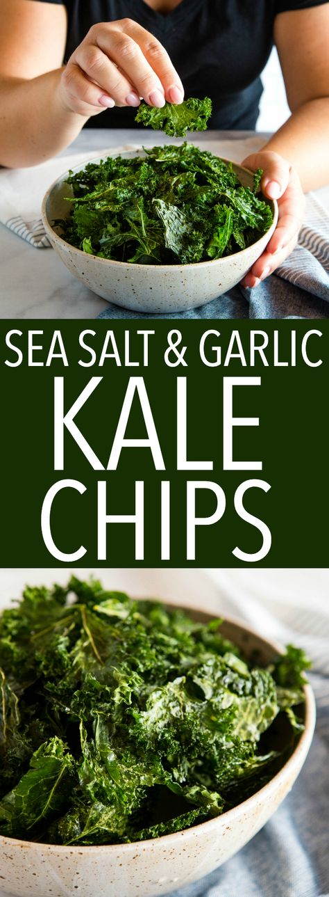 Low Unwanted Fat Cooking For Weightloss No Fail, Crispy Kale Chips Every Time Sea Salt And Garlic Kale Chips Recipe From Thebusybaker. Kale Chip Recipes, Vegetable Recipes, Whole Food Recipes, Vegetarian Recipes, Cooking Recipes, Healthy Recipes, Cooked Kale Recipes, Healthy Appetizers, Healthy Snacks