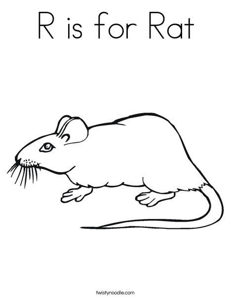 R Is For Rat Coloring Page Twisty Noodle Coloring Pages Rats Color