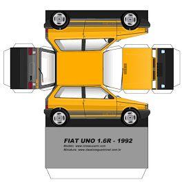 Sp Papel Modelismo Papercraft Fiat Uno 1 6r 1992 Fiat Uno Fiat Paper Models