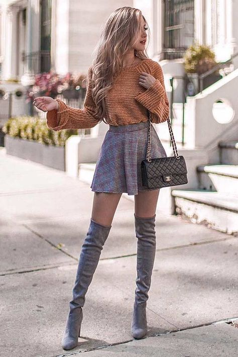 Skater Skirts #skater #shortskirt ★ All the details you need to know about trendy skirt types: skater, a line, pencil, long, plaid, tulle can be found in one place! ★ #skirt #skirttypes #outfit #glaminati