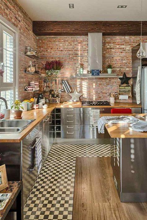 New Le Awesome Avec Magnifique Cuisine Mur Brique Rouge dans ...