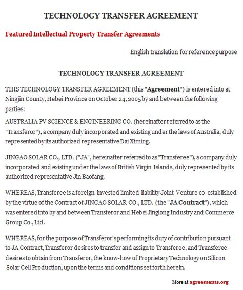 Technology Transfer Agreement #employment #agreement #technology - credit agreements