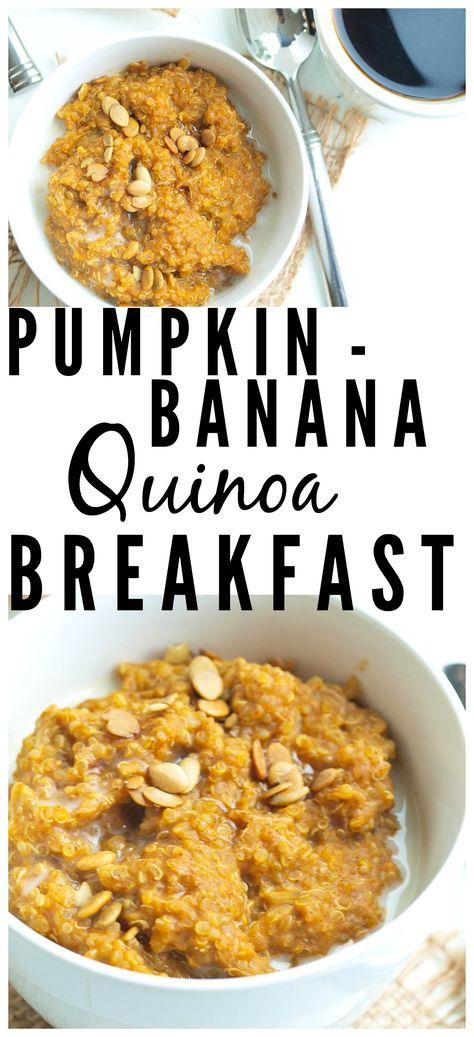 Pumpkin Banana Quinoa Breakfast--an easy, delicious, and healthy creamy quinoa breakfast bowl that is a perfect fall recipe!