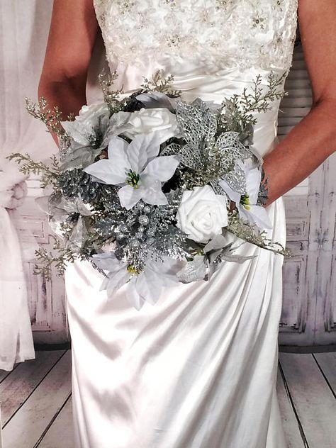 Winter Wedding Bouquet White Silver Bouquet White Rose And Etsy Winter Wedding Bouquet White Bridal Bouquet Winter Wedding Bouquet White
