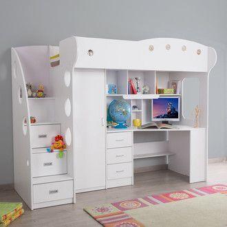 Lit Combine Avec Bureau Et Rangement Couchage 90x190 Cm Combal Port Offert Lit Mezzanine Meuble Chambre Lit Mezzanine Enfant