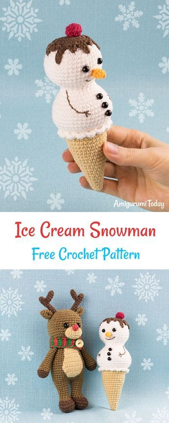 Ice Cream Snowman crochet pattern