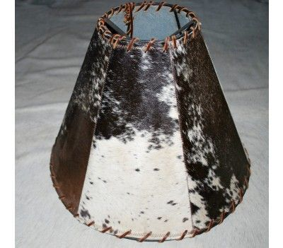 Cowhide Western Rustic Lamp Shade Leather 7a Rusticlampshadegray