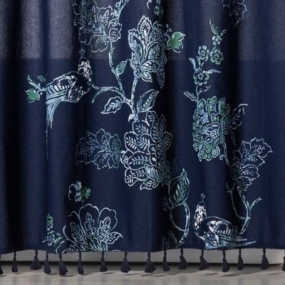 placement floral shower curtain navy