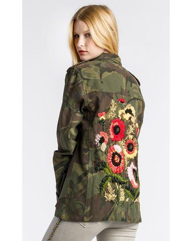 Womens Vintage Military Camo Jacket Camouflage Coat Flower Embellishment Badge
