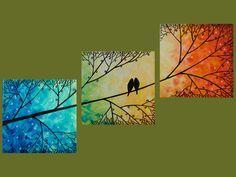 Original Modern Texture Impasto Metallic Painting Landscape Tree Branches Wall Decor