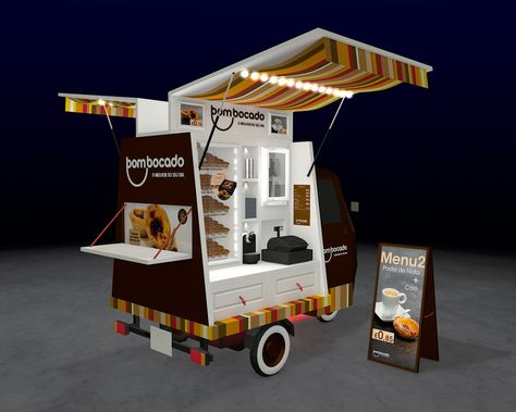 Cart design proposal for selling portuguese 'natas' near the beach. Love the touch of color added with the awnings. The lights are a nice touch, too!