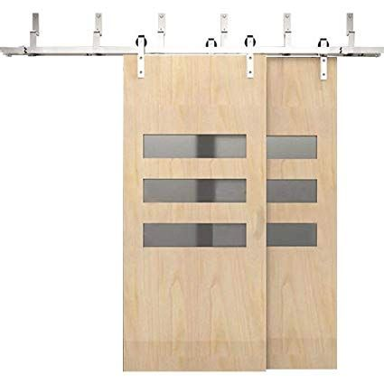Winsoon 4ft 18ft Modern Sliding Bypass Barn Door Hardware 304 Stainless Steel Double Doors Kit Cabine Steel Double Doors Bypass Barn Door Hardware Closet Doors